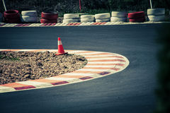Corner of the gokart track Stock Photos