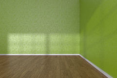 Corner of green empty room with parquet floor Stock Photos