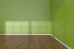 Corner of green empty room with parquet floor Stock Photos