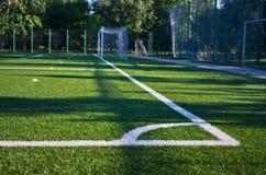 Corner of a green empty soccer field in Belgrade. Serbia Stock Photos