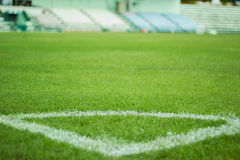 Corner. On the green grass in stadium Royalty Free Stock Photography