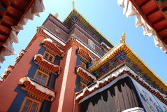 A corner of the hall. Tibet Shigatse, has permitted the Tibetan Construction style Royalty Free Stock Photos