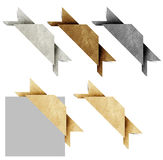 Corner header origami tag recycled paper craft. Stick on white background stock photography