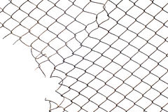 Corner hole in the mesh wire fence Royalty Free Stock Photo