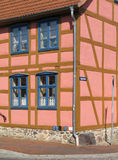 Corner house. Renovated half-timbered house in Roebel, Mecklenburg-Western Pomerania, Germany royalty free stock photo