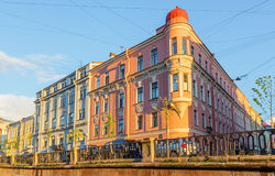 The corner house on the embankment of Griboyedov Canal Stock Images