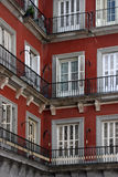 Corner house in madrid. House in Madrid, Spain. Plaza de mayor royalty free stock image