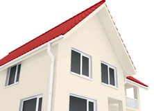 Corner of the house with windows and gutters. 3d render Stock Photo
