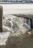 Corner ice formation. At sheltzer park waterfall Royalty Free Stock Images