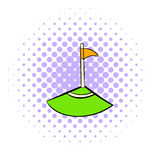 Corner icon, comics style. Corner icon in comics style isolated on white background. Corner flag of footbal field Royalty Free Stock Images