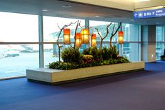 A Corner Of Incheon International Airport Korea Decorated With Some Lamp Art Piece As View While Transiting To Our Next Flight stock images