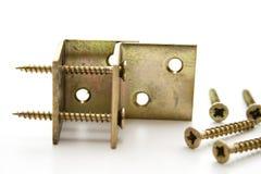 Corner iron with screw Stock Images