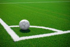 Corner kick. The ball is prepared for corner kick royalty free stock photography