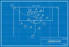 Corner kick blueprint Stock Photography