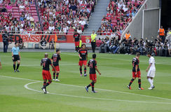 Corner_Press Photo_Soccer Players_Football Stadium Royalty Free Stock Photo