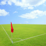 Corner kick grass in football ground Stock Image