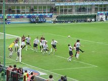 Corner kick in a Milan soccer stock photography