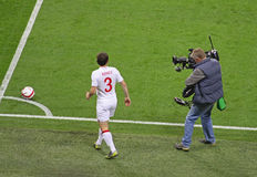 Corner kick on TV. Corner kick of the match England-San Marino (5-0), valid for the World Cup Qualification at Wembley Stadium. With the number 3 Leighton Baines Stock Images
