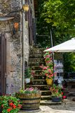 Corner in La Couvertoirade fortified town in Larzac region, France stock images