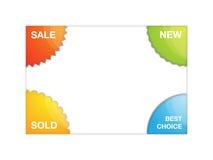 Corner labels. Set of four vector corner labels – sale, new, sold, best choice Stock Photo