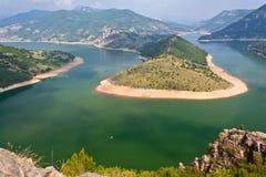 Corner of the lake Kardjali. Views Kardjali Dam in the Rhodope Mountains Royalty Free Stock Images