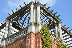 Corner of large Pergola with sky Stock Images