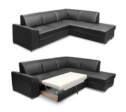 Corner leather sofa set isolated on white background with clipping path Royalty Free Stock Photos