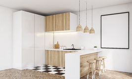 Corner of light wood kitchen counter Stock Image