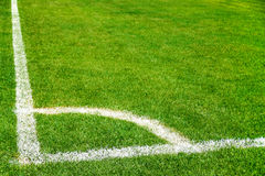 Corner line of soccer field Royalty Free Stock Images