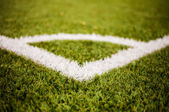 Corner lines detail on a soccer field Royalty Free Stock Image