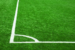Corner lines on soccer grass Royalty Free Stock Photo