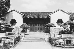 A corner of Lingering Garden in Suzhou. Black white symmetric yard courtyard tradition stair Stock Photography