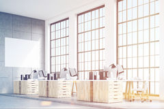 Corner of loft office, wooden furniture, toned Stock Image