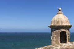 Corner lookout tower at Castillo San Felipe del Morro. Stock Photos