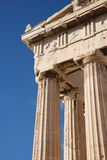 Corner of marble Parthenon colonnade and pediment Stock Images