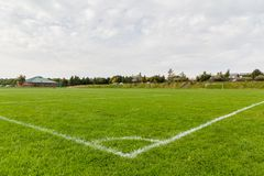 Corner Football Pitch Marking. A corner marked out on a football pitch Royalty Free Stock Photography