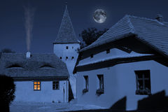 Corner from medieval city. Exterior of ghostly corner from medieval city under the moonlight Royalty Free Stock Images