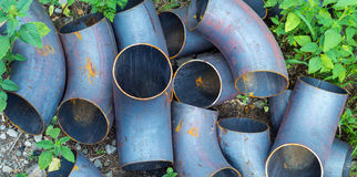 Corner metal pipes royalty free stock images
