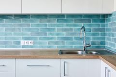 Corner Modern white blue kitchen Stock Photo