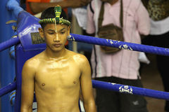 In the corner. Before Muay Thai competition at Bangla Boxing Stadium in Patong, Phuket, Thailand Stock Photos