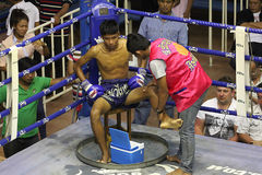 In the corner. Muay Thai competition at Bangla Boxing Stadium in Patong, Phuket, Thailand Royalty Free Stock Images