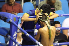 In the corner. Muay Thai competition at Bangla Boxing Stadium in Patong, Phuket, Thailand Stock Photography