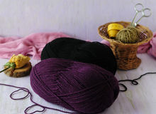 The corner of the needlewoman. Woolen threads for knitting winter things Stock Images