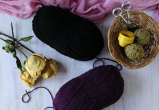 The corner of the needlewoman. Woolen threads for knitting winter things Stock Image