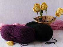 The corner of the needlewoman. Woolen threads for knitting winter things Royalty Free Stock Photo