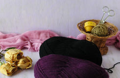 The corner of the needlewoman. Woolen threads for knitting winter things Royalty Free Stock Photography