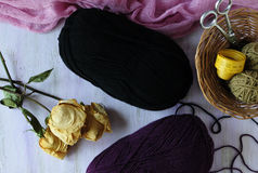 The corner of the needlewoman. Woolen threads for knitting winter things Royalty Free Stock Images