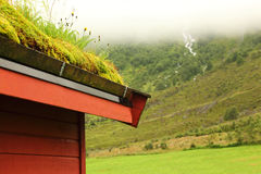 Corner Of Wooden Roof Of Norwegian House Royalty Free Stock Photography