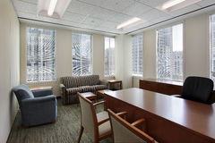 Corner office in downtown building Royalty Free Stock Image