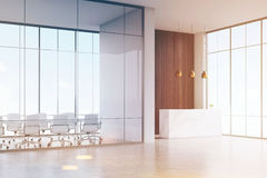 Corner of office. White reception table with a paper cup of coffee standing in a hall. Conference room. Glass and wooden wall. 3d rendering. Mock up. Toned Stock Image